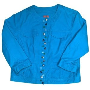 Hearts of palm turquoise bead front jacket